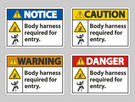 Body Harness Required For Entry Sign Ilustracja