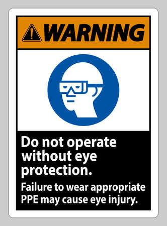 Warning Sign Do Not Enter Without Wearing Eye Protection,Vision Damage Can Result Ilustracja