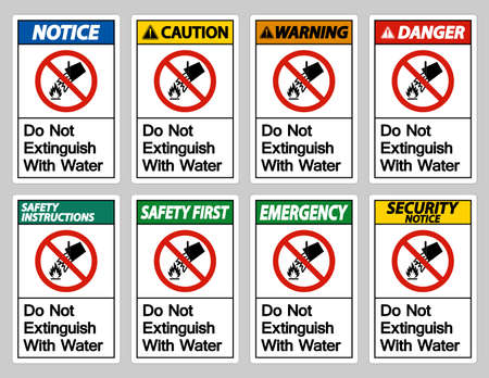 Do Not Extinguish With Water Symbol Sign On White Background