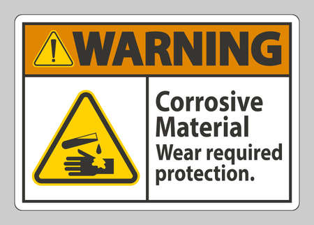 Warning Sign Corrosive Materials,Wear Required Protection Ilustracja