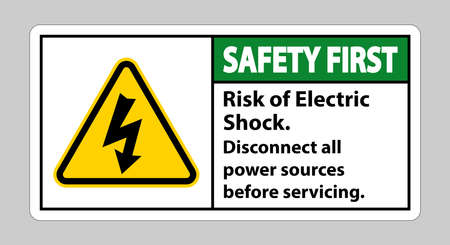 Safety first Risk of electric shock Symbol Sign Isolate on White Background