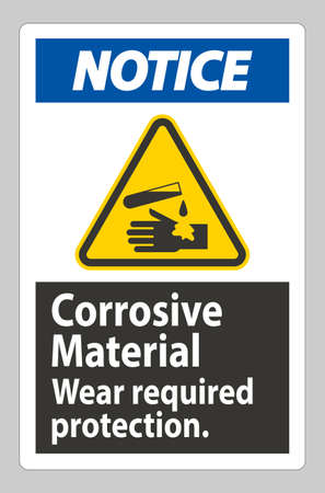 Notice Sign Corrosive Materials,Wear Required Protection
