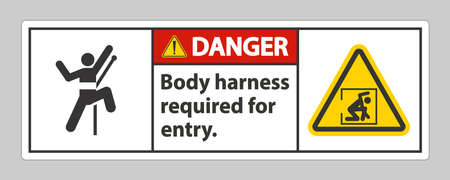 Danger Sign Body Harness Required For Entry