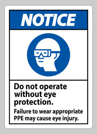 Notice Sign Do Not Operate Without Eye Protection, Failure To Wear Appropriate PPE May Cause Eye Injury Vetores