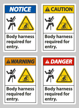 Body Harness Required For Entry Sign Ilustración de vector