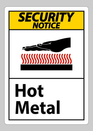 Security Notice Hot Metal Symbol Sign Isolated On White Background Ilustracja