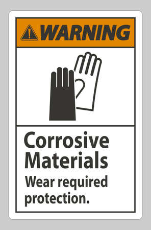 Warning Sign Corrosive Materials, Wear Required Protection