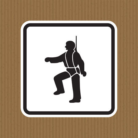 PPE Icon.Safety Harness Must Be Worn Symbols Sign Isolate On White Background,Vector Illustration Illusztráció