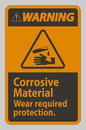 Warning Sign Corrosive Materials,Wear Required Protection Illusztráció