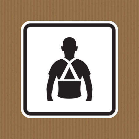 Wear Back Support Symbol Sign Isolate On White Background,Vector Illustration