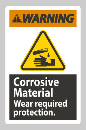 Warning Sign Corrosive Materials,Wear Required Protection