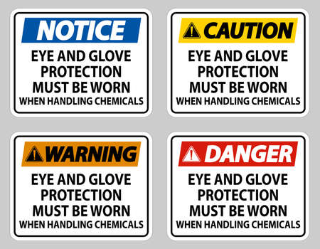 Eye and Glove Protection Must Be Worn When Handling Chemicals Illusztráció