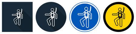 Symbol Wear Safety Harness Sign on black background,vector illustration Иллюстрация