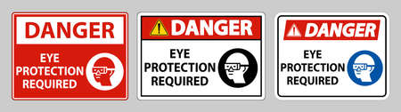 Danger sign Eye Protection Required on white background Illusztráció