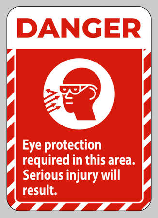 Danger Sign Eye Protection Required In This Area, Serious Injury Will Result