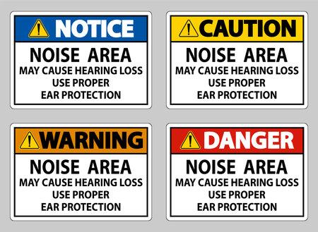 Noise Area May Cause Hearing Loss Use Proper Ear Protection Illusztráció