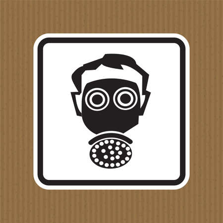 Symbol wear respirator protection Sign Isolate On White Background,Vector Illustration