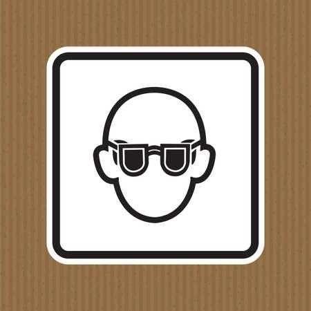 Symbol Wear Safety Glasses Sign Isolate On White Background,Vector Illustration EPS.10 Illusztráció