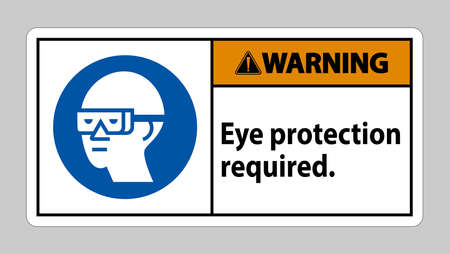 Warning Sign Eye Protection Required on white background