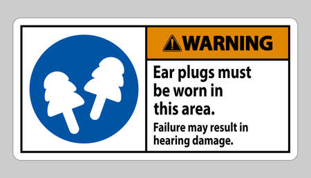 Warning sign Ear Plugs Must Be Worn In This Area, Failure May Result In Hearing Damage