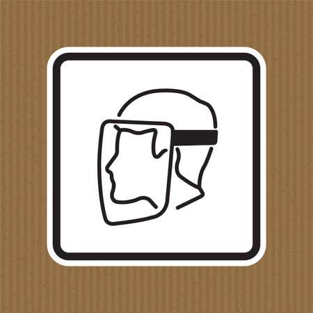 Symbol Face Shield Must Be Worn sign Isolate On White Background,Vector Illustration EPS.10 Illusztráció