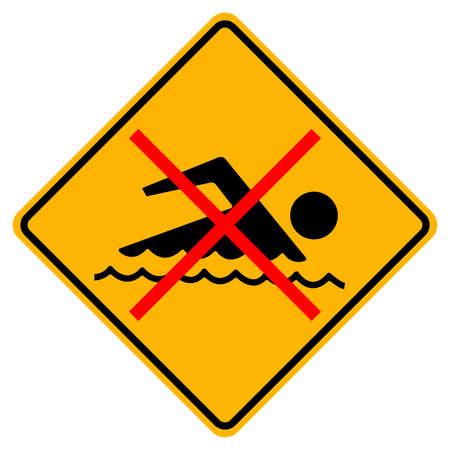 Sign forbidden to swim on white background Illusztráció