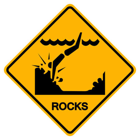 Warning Sign Rocks On The Beach on a white background.