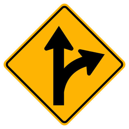 Proceed Straight or Turn Right Road Sign