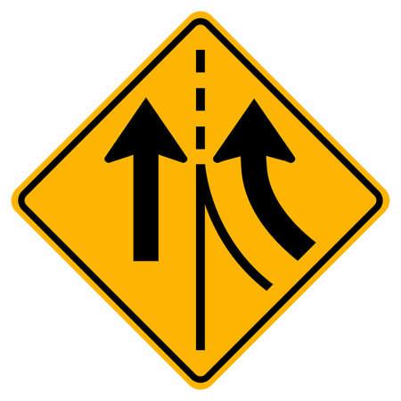 Warning traffic sign merging Right lane