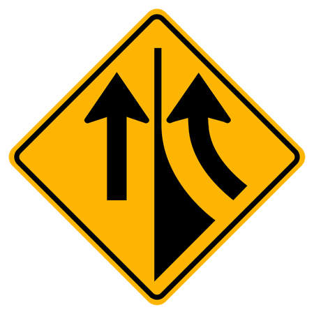 Warning road sign merging from the right