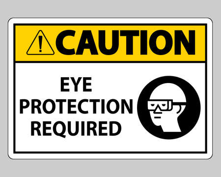 Caution sign Eye Protection Required on white background Illusztráció