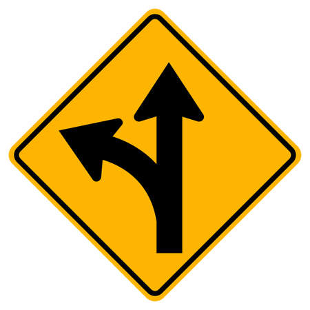 Proceed Straight or Turn left Road Sign