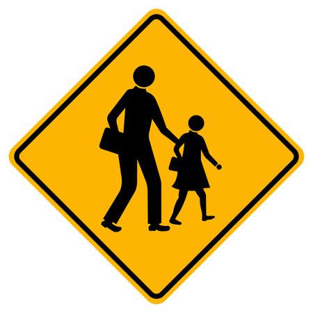 Warning School Traffic Road Sign