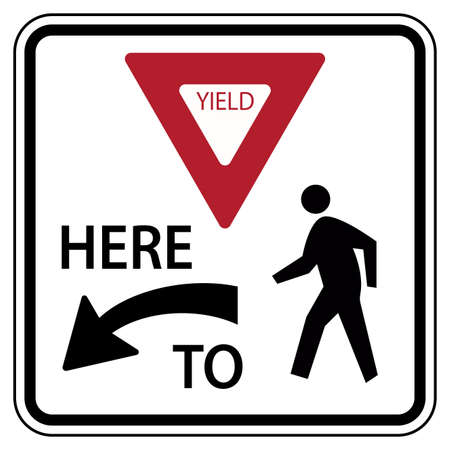 Traffic road sign yield here to pedestrians warning 向量圖像