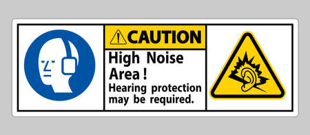 Caution Sign High Noise Area Hearing Protection May Be Required Vektorové ilustrace