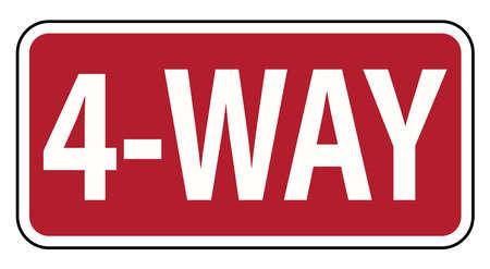 Traffic Road sign 4 way warning on white background