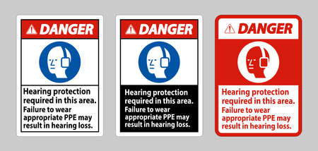 Danger Sign Hearing Protection Required In This Area, Failure To Wear Appropriate PPE May Result In Hearing Loss 向量圖像