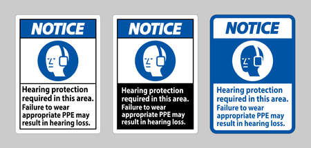 Notice Sign Hearing Protection Required In This Area, Failure To Wear Appropriate PPE May Result In Hearing Loss 向量圖像