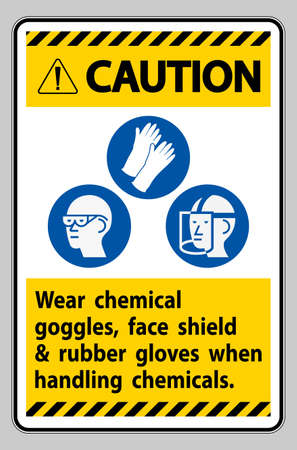 Caution Sign Wear Chemical Goggles, Face Shield and Rubber Gloves When Handling Chemicals