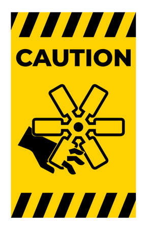 Caution Cutting of Fingers Or Hand Engine Fan Symbol Sign on White Background