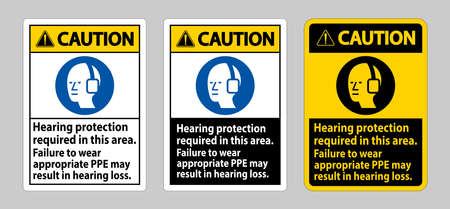 Caution Sign Hearing Protection Required In This Area, Failure To Wear Appropriate PPE May Result In Hearing Loss 向量圖像