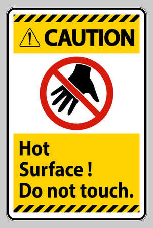 Caution Sign Hot Surface Do Not Touch On White Background
