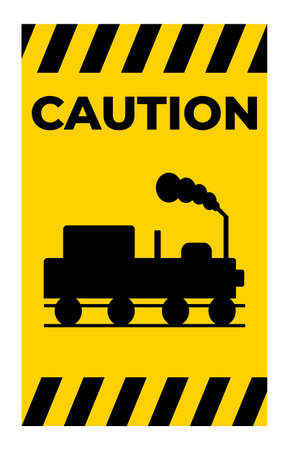 Caution Beware Of Trains Symbol Sign Isolate On White Background 向量圖像