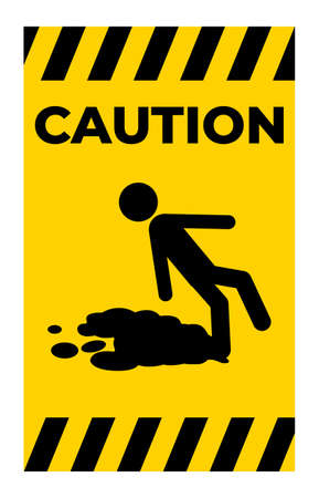 Caution Beware Slippery Surface Symbol Isolate On White Background 向量圖像