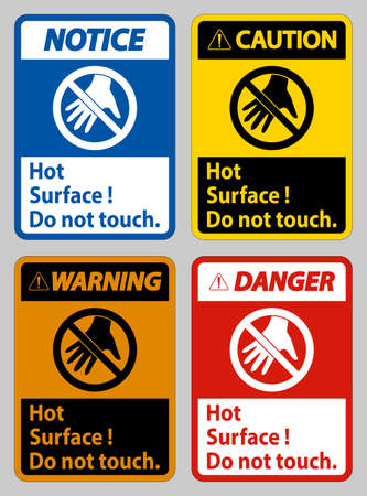 Hot Surface Do Not Touch On White Background