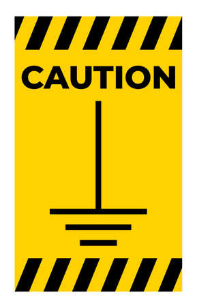 Caution Earth Ground Symbol Sign On White Background 向量圖像