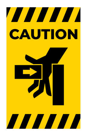Caution Hand Crush Force From Left Symbol Sign Isolate on White Background