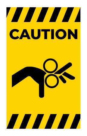Caution Beware Roller Symbol Sign Isolate On White Background