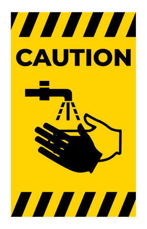 Caution Wash Your Hand Symbol Isolate On White Background