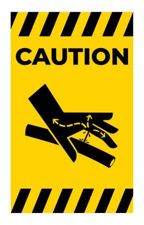 Caution Skin Puncture Hydraulic Line Symbol Sign On White Background Ilustração